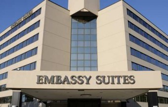 The Embassy Suites Tysons Corner showcases a tranquil atrium setting that is surrounded by 234 spacious suites.